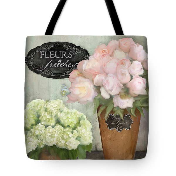 Tote Bag featuring the painting Marche Aux Fleurs 2 - Peonies N Hydrangeas by Audrey Jeanne Roberts