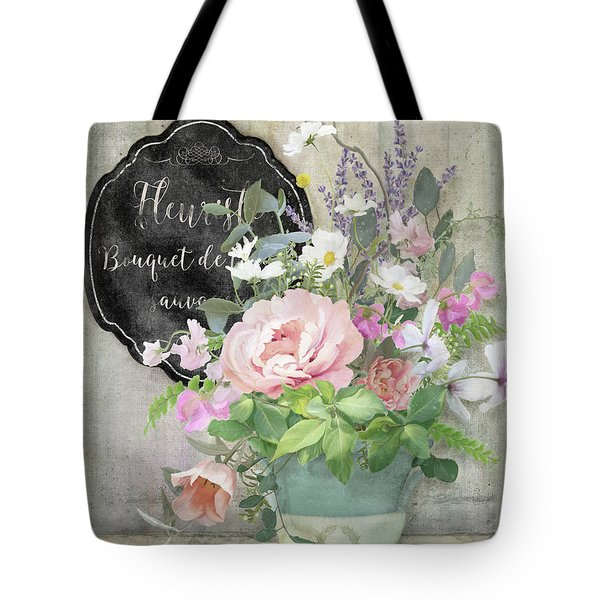 Marche Aux Fleurs 3 Peony Tulips Sweet Peas Lavender And Bird Tote Bag by Audrey Jeanne Roberts