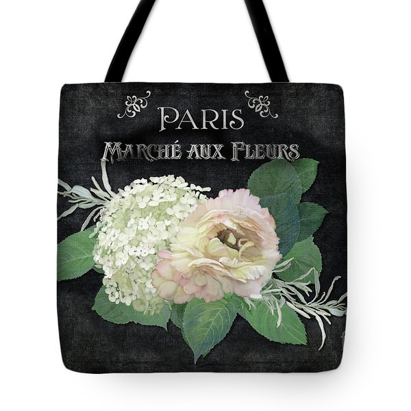 Tote Bag featuring the painting Marche Aux Fleurs 4 Vintage Style Typography Art by Audrey Jeanne Roberts