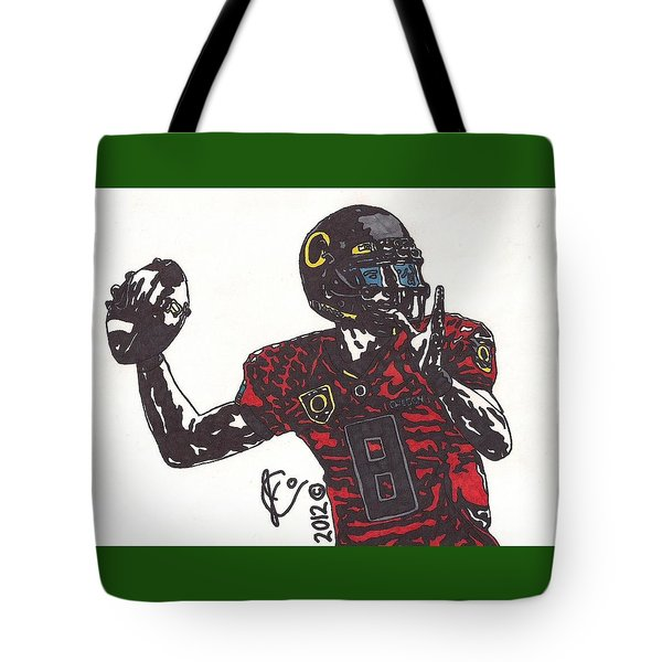 Marcus Mariota 1 Tote Bag by Jeremiah Colley