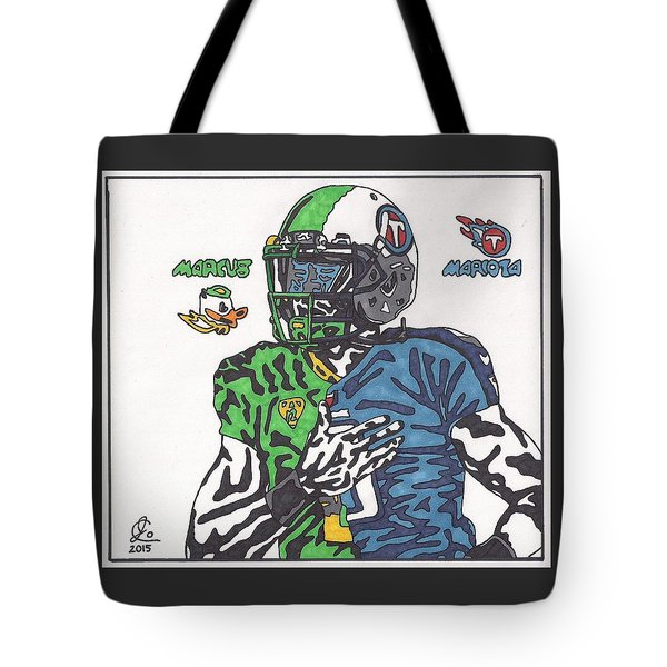 Marcus Mariota Crossover Tote Bag by Jeremiah Colley