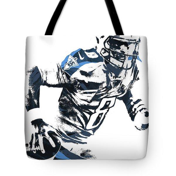 Tote Bag featuring the mixed media Marcus Mariota Tennesse Titans Pixel Art 2 by Joe Hamilton