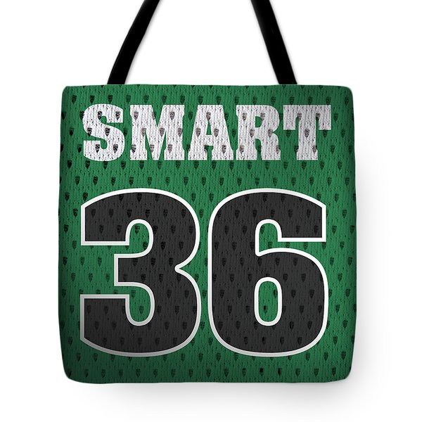 Marcus Smart Boston Celtics Number 36 Retro Vintage Jersey Closeup Graphic Design Tote Bag