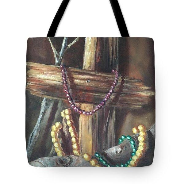 Mardi Gras Beads And Hurricane Katrina Tote Bag by Randy Burns