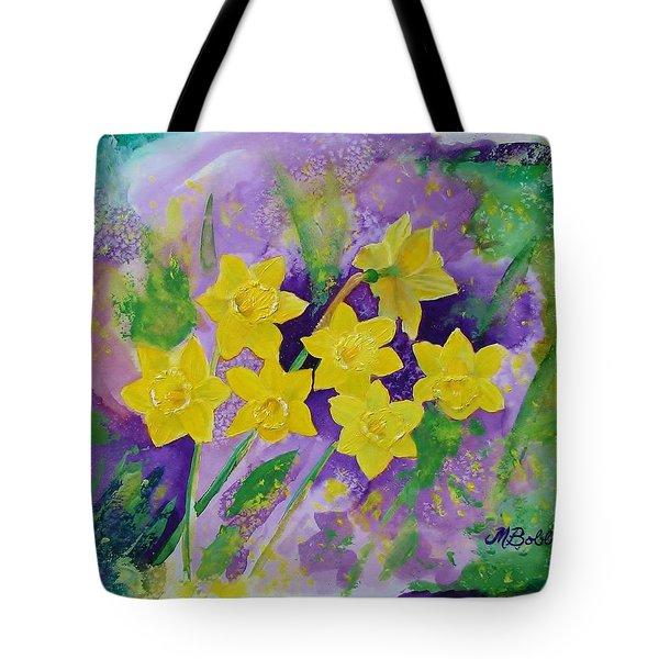 Mardi Gras Daffodils Tote Bag by Margaret Bobb