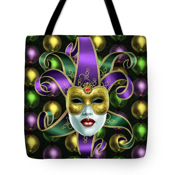 Mardi Gras Mask And Beads Tote Bag