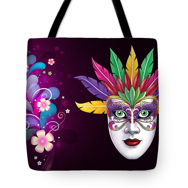 Tote Bag featuring the photograph Mardi Gras Mask On Floral Background by Gary Crockett