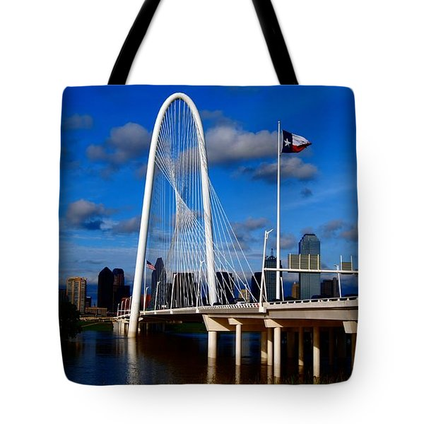 Margaret Hunt Hill Bridge Dallas Flood Tote Bag by Kathy Churchman