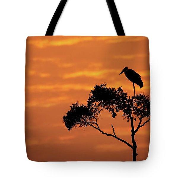 Maribou Stork On Tree With Orange Sunrise Sky Tote Bag