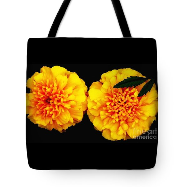 Tote Bag featuring the photograph Marigolds With Oil Painting Effect by Rose Santuci-Sofranko