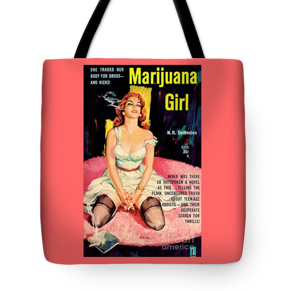Tote Bag featuring the painting Marijuana Girl by Santos