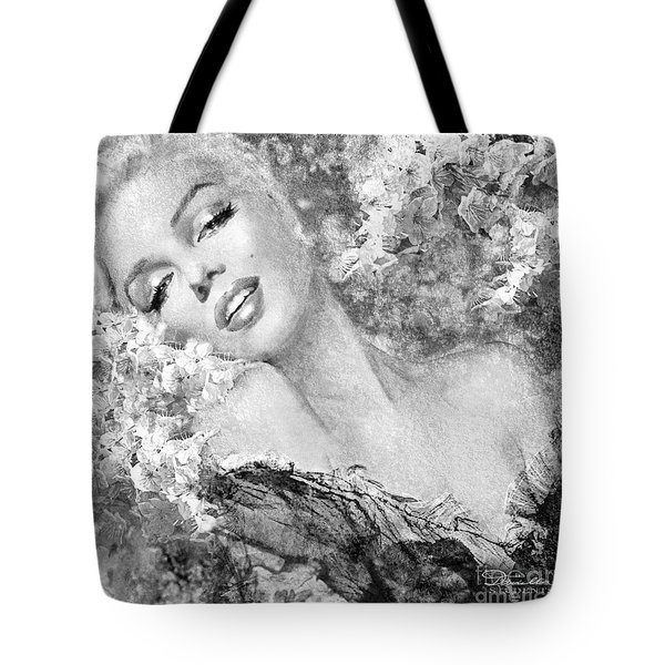 Marilyn Cherry Blossom Bw Tote Bag