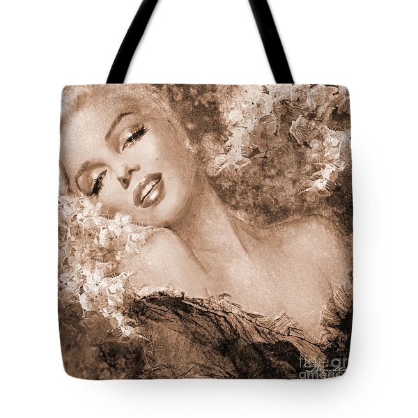 Marilyn Cherry Blossoms, Sepia Tote Bag