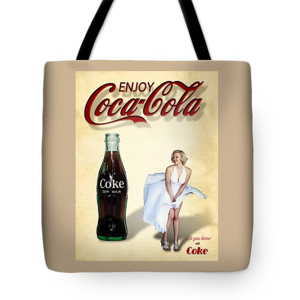 Tote Bag featuring the photograph Marilyn Coca Cola Girl 3 by James Sage