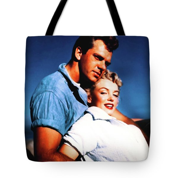 Tote Bag featuring the photograph Marilyn Monroe Blond Bomb Shell Clash By Night by R Muirhead Art