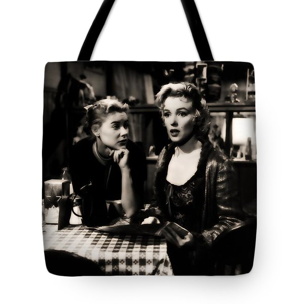 Tote Bag featuring the photograph Marilyn Monroe Blond Sex Goddess by R Muirhead Art