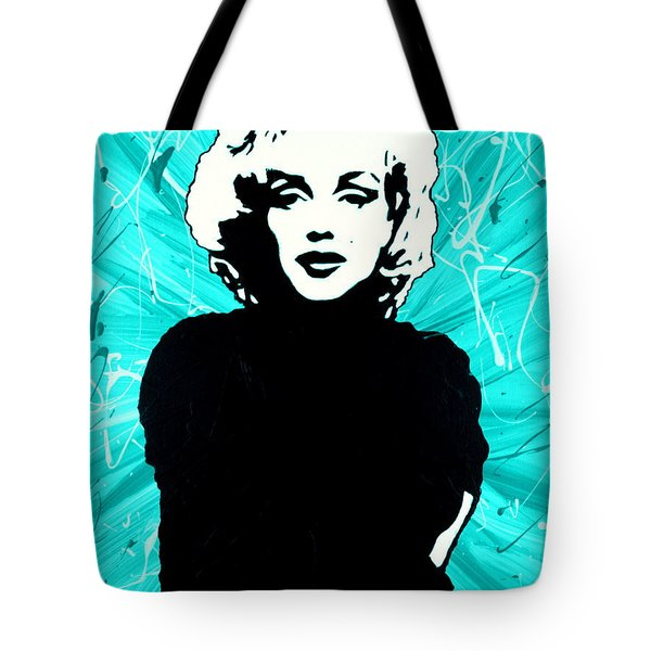 Tote Bag featuring the painting Marilyn Monroe Blue Green Aqua Tint by Bob Baker