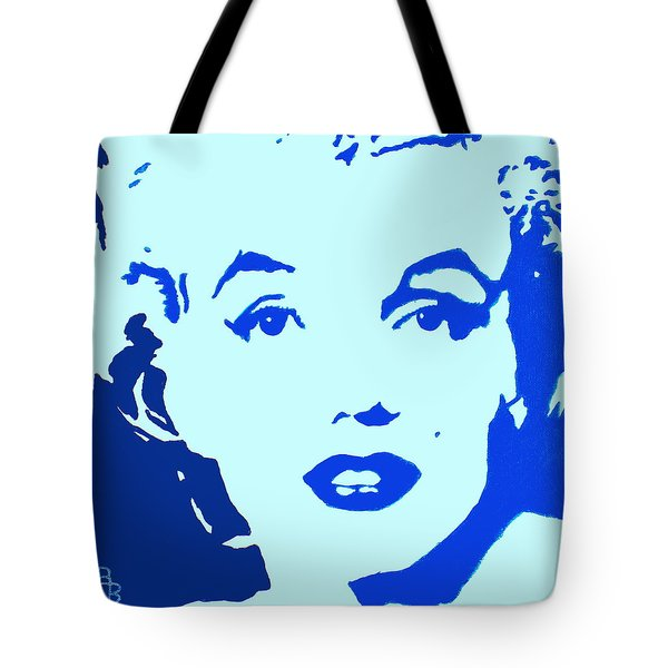 Marilyn Monroe Blue Pop Art Portrait Tote Bag