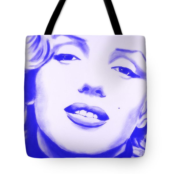 Tote Bag featuring the painting Marilyn Monroe - Blue Tint by Bob Baker