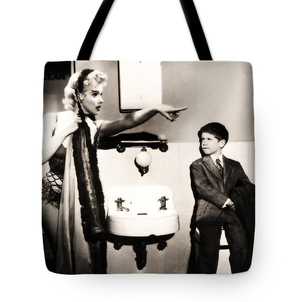 Tote Bag featuring the photograph Marilyn Monroe Spied On By Cheeky Boy In Changing Room by R Muirhead Art