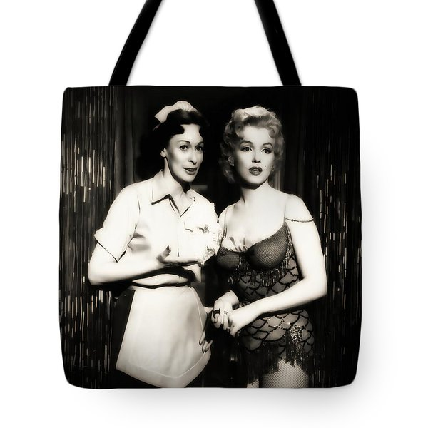Tote Bag featuring the photograph Marilyn Monroe Bus Stop Scene With Eileen Heckart  by R Muirhead Art