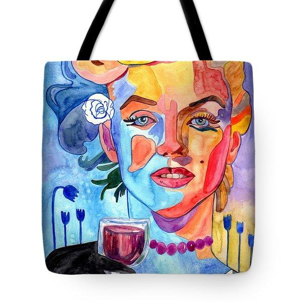 Marilyn Monroe Drinking Wine Tote Bag