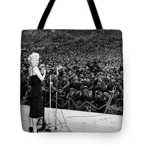 Marilyn Monroe Entertaining The Troops In Korea Tote Bag by American School