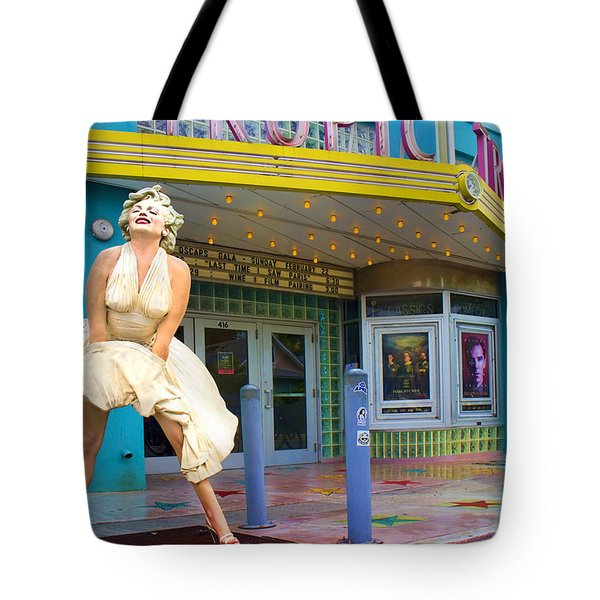 Marilyn Monroe In Front Of Tropic Theatre In Key West Tote Bag by David Smith