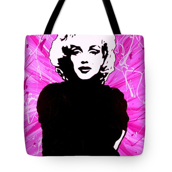 Tote Bag featuring the painting Marilyn Monroe In Hot Pink by Bob Baker