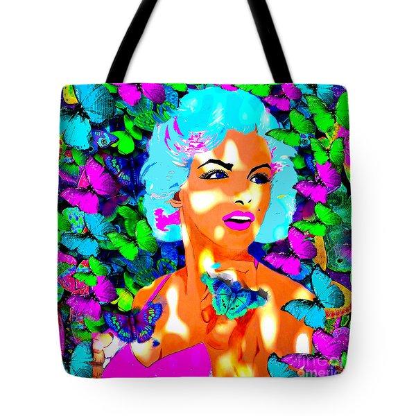 Marilyn Monroe Light And Butterflies Tote Bag