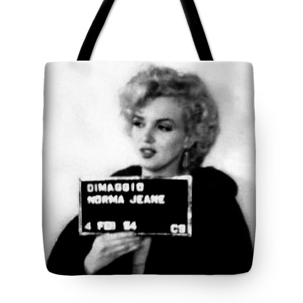 Marilyn Monroe Mugshot In Black And White Tote Bag