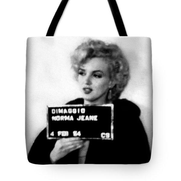 Marilyn Monroe Mugshot In Black And White Tote Bag