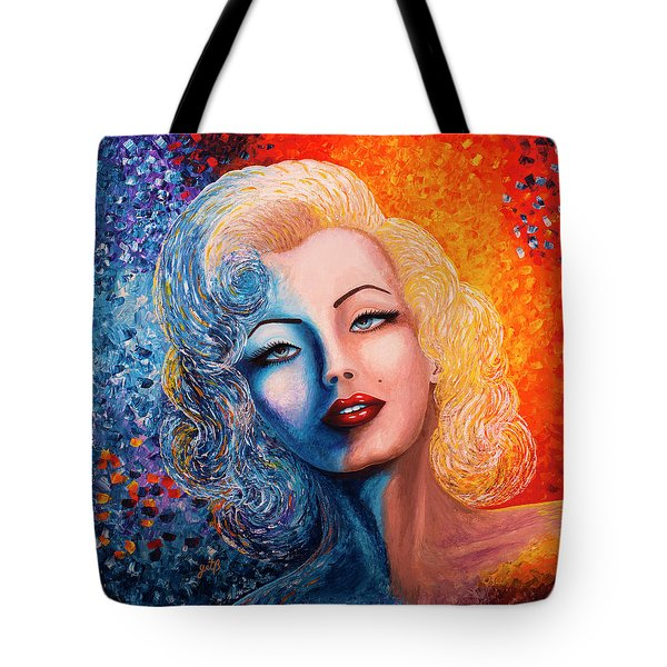 Tote Bag featuring the painting Marilyn Monroe Original Acrylic Palette Knife Painting by Georgeta Blanaru