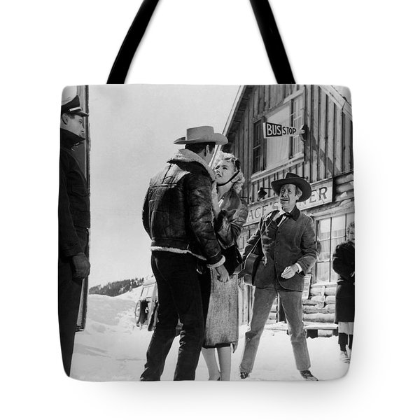 Tote Bag featuring the photograph Marilyn Monroe Western Scene by R Muirhead Art