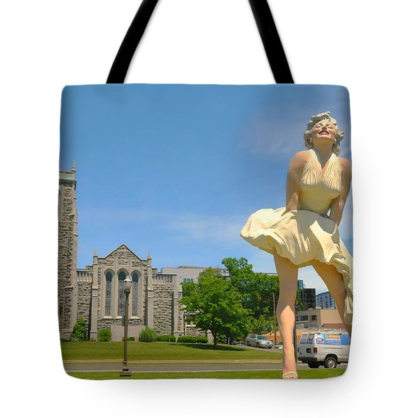 Marilyn On Bedford  Tote Bag