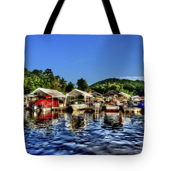 Marina At Cheat Lake Clear Day Tote Bag