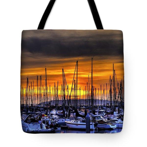 Marina At Sunset Tote Bag