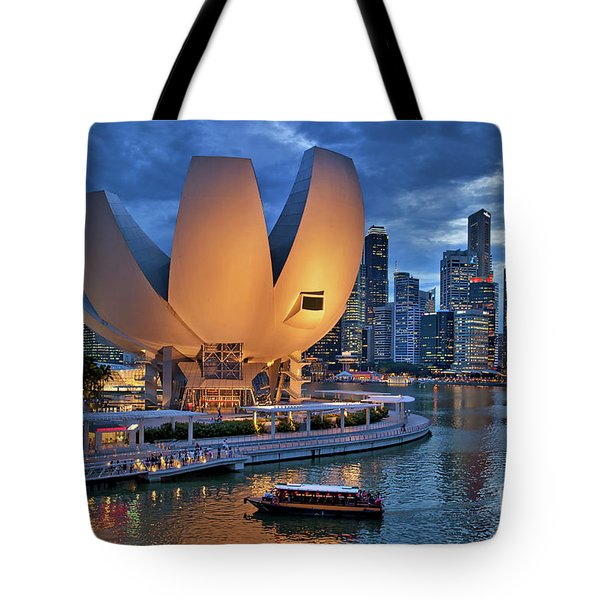 Tote Bag featuring the photograph Marina Bay Sands Resort With The Singapore Skyline by Sam Antonio Photography