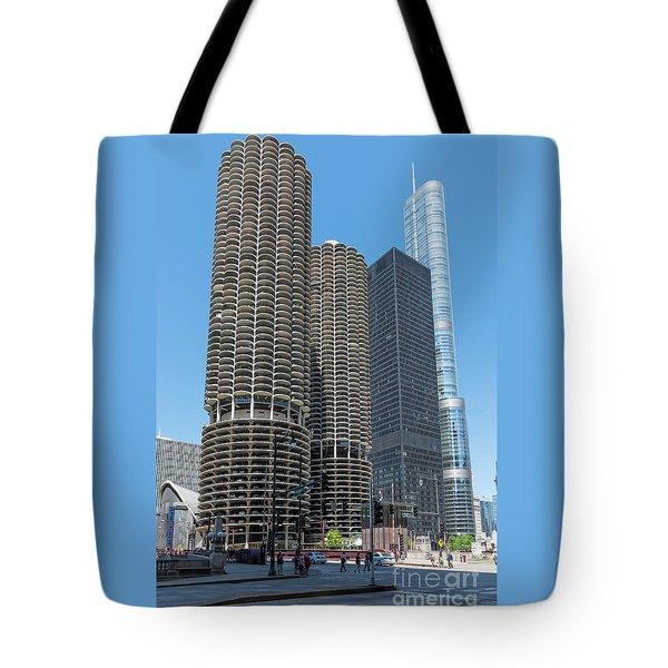 Marina City, Ama Plaza, And Trump Tower Tote Bag