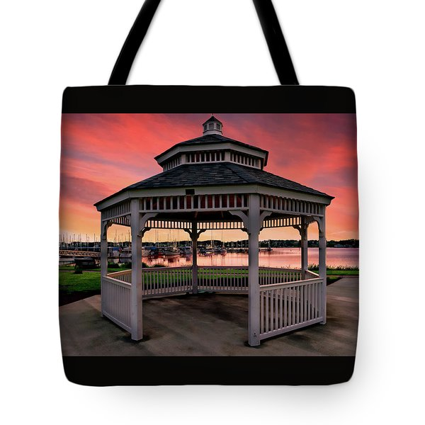 Marina Gazebo Sunset Tote Bag by Rick Lawler