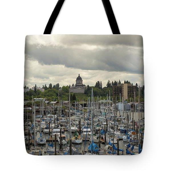 Marina In Olympia Washington Waterfront Moorage Tote Bag