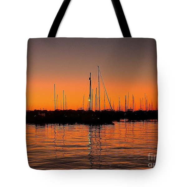 Marina Moonlight Masts Tote Bag