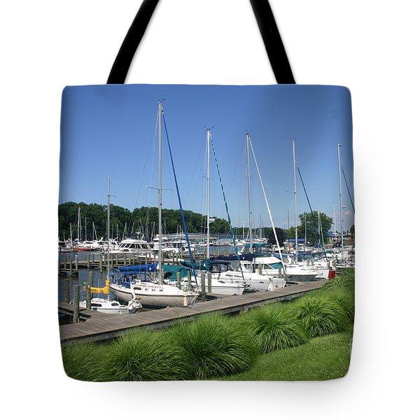 Marina On Black River Tote Bag