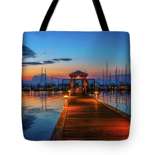 Tote Bag featuring the photograph Marina Sunrise by Tom Claud