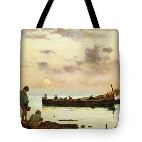 Marina With A Fishing Boat And Boys Tote Bag
