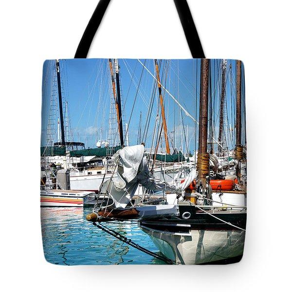 Marinas And Masts  Tote Bag by Kathi Mirto