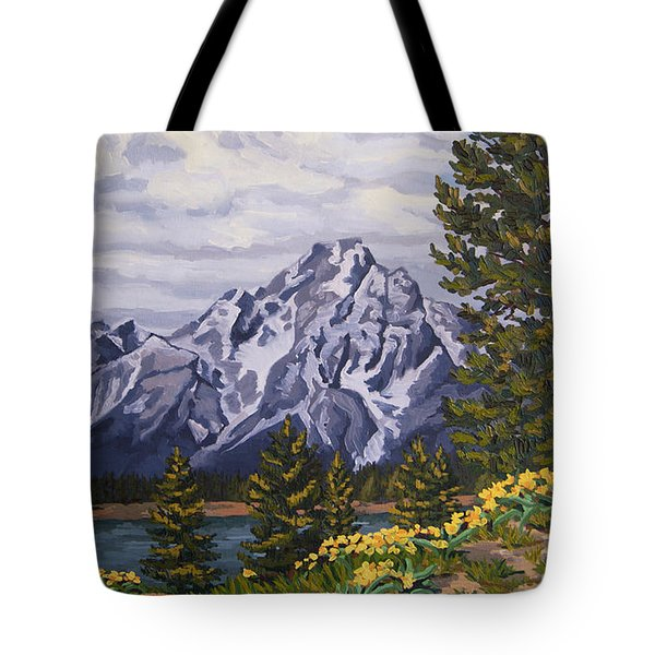 Tote Bag featuring the painting Marina's Edge, Jenny Lake, Grand Tetons by Erin Fickert-Rowland