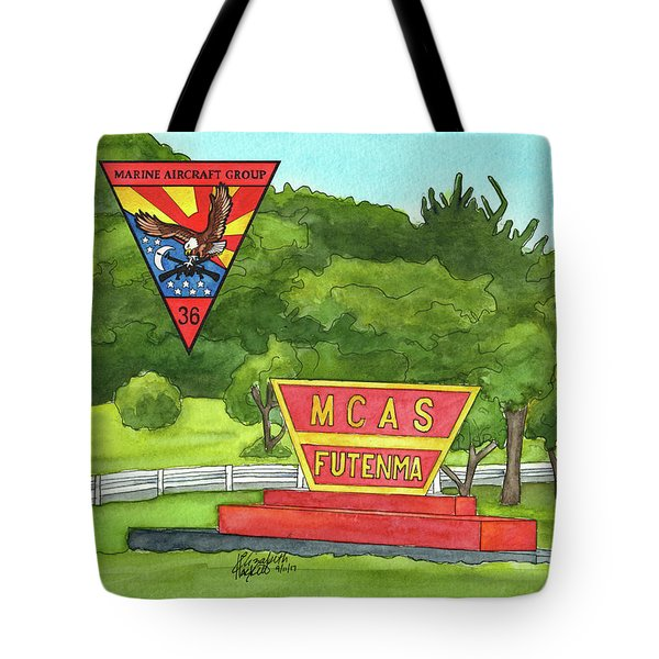 Tote Bag featuring the painting Marine Aircraft Group At Mcas Futenma by Betsy Hackett