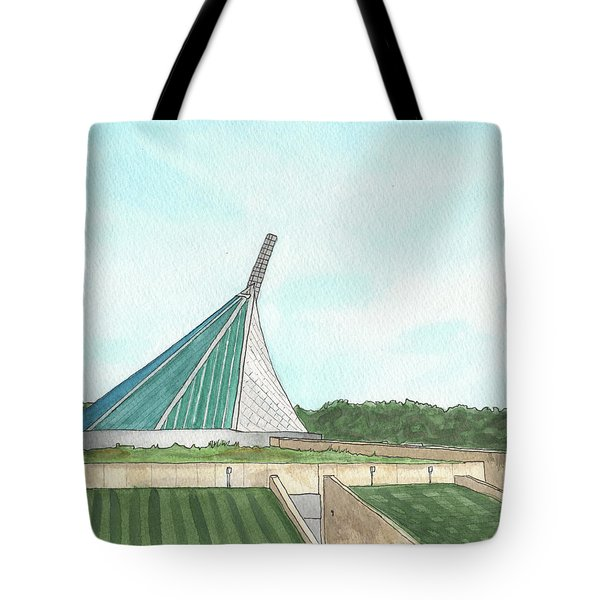 Tote Bag featuring the painting Marine Corps Museum From The Chapel by Betsy Hackett
