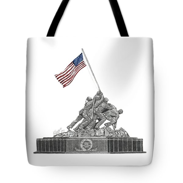 Tote Bag featuring the drawing Marine Corps War Memorial - Iwo Jima by Betsy Hackett